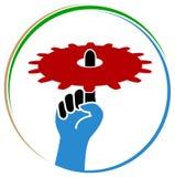 Hand hold gear wheel. Isolated line art logo design Royalty Free Stock Photo