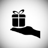 Hand hold gift icon,  Royalty Free Stock Photo