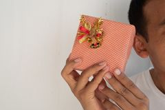 Hand hold a give box. In happy holiday stock image