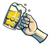 Hand hold a glass of beer stock illustration