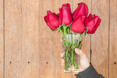 Hand hold glass of red rose Royalty Free Stock Image