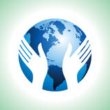 Hand hold the globe. Protecting earth Royalty Free Stock Image