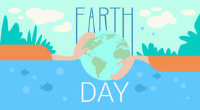 Hand Hold Globe Earth Day Global Ecological World Protection Holiday Concept Stock Photography