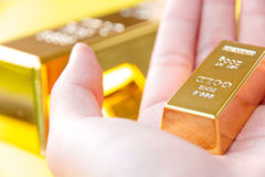 Hand hold gold bars Stock Photography