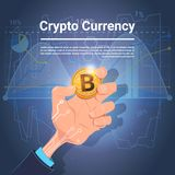 Hand Hold Golden Bitcoin Digital Currency Crypto Web Charts And Graphs Background. Vector Illustration Stock Photo