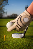 Hand hold golf ball Stock Images