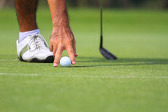 Hand hold golf ball on course Royalty Free Stock Photo