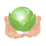 Hand Hold Green Earth Leaf Vector Stock Photography