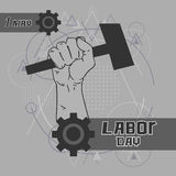 Hand Hold Hammer Labor Day May Holiday Over Triangle Geometric Background Royalty Free Stock Photos