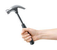 Hand hold hammer. On a white background Stock Images