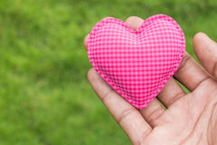 Hand hold heart love on grass background. Hand hold heart love green grass background Royalty Free Stock Photo