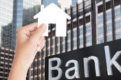 Hand hold home paper finance concept Royalty Free Stock Image