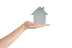 Hand hold a house paper Stock Photography