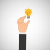 Hand hold icon bulb idea design flat isolated. Illustration eps 10 Stock Photo