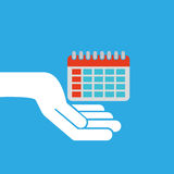 Hand hold icon smartphone and calendar design flat isolated Stock Photo