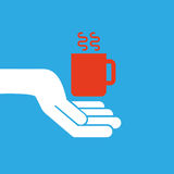 Hand hold icon smartphone and cup design flat isolated. Illustration eps 10 Royalty Free Stock Photos