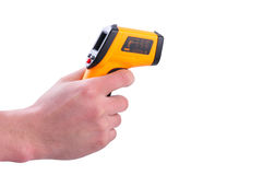 Hand hold IR thermometer Royalty Free Stock Photography