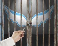 Hand hold key unlocking locked door with blue and white wings in. Gray concrete background Stock Photos