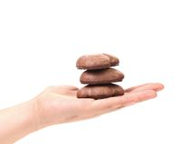 Hand hold Kisses Cookies with chocolate. Royalty Free Stock Photo