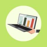 Hand hold laptop cartoon vector illustration Stock Photos