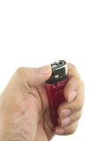 Hand hold lighter ready for lit isolated Stock Photo