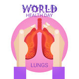 Hand Hold Lungs Health World Day Global Holiday Banner Greeting Card Stock Image