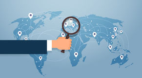 Hand Hold Magnifying Glass Over World Map Searching Place For Vacation Gps Pin Stock Image