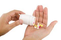 Hand hold many medicine Royalty Free Stock Photo