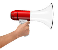 Hand Hold Megaphone isolated on white Royalty Free Stock Photos