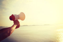 Hand hold megaphone Royalty Free Stock Photography