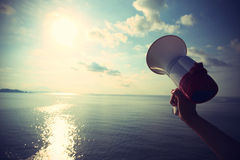 Hand hold megaphone Royalty Free Stock Image