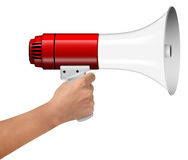 Hand Hold Megaphone  on white Royalty Free Stock Photos