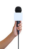 Hand hold microphone Stock Image