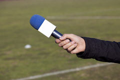 Hand hold microphone. For interview stock image