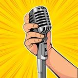 Hand hold microphone cartoon vector illustration. Retro poster comimc book performance. royalty free illustration