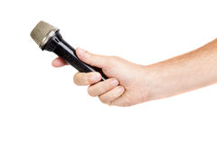 Hand hold microphone for  interview Royalty Free Stock Photography