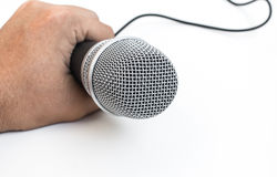 Hand hold Microphone Stock Photos