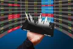 Hand Hold mobile Phone with graph stock exchange Royalty Free Stock Image