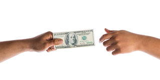 Hand hold money in american dollar Royalty Free Stock Photography