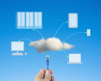 Hand hold Network cable connect to cloud computing service Stock Image