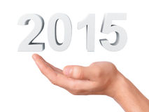 Hand hold 2015.  New Year concept on white background Royalty Free Stock Photo