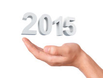 Hand hold 2015. New Year concept on white background. Image of hand holding New Year 2015 on isolated white background royalty free illustration