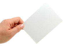 Hand hold a note card. (business concept Stock Photos