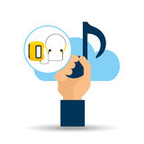 Hand hold note music cloud and radio cassette player Stock Photography