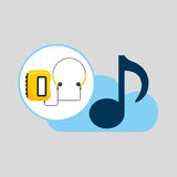 Hand hold note music cloud and radio cassette player Royalty Free Stock Images