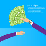 Hand hold One Hundred 100 Dollars Banknote Pack. Flat Design with Shadow Vector Illustration Stock Images
