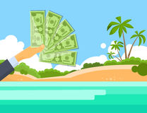 Hand Hold One Hundred 100 Dollars Banknote Tropical Island. Palm Tree Offshore Banking Concept Flat Vector Illustration Royalty Free Stock Photography