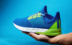 Hand hold one running shoe Royalty Free Stock Image