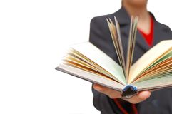 Hand hold the open book Royalty Free Stock Photography