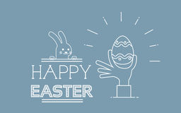 Hand Hold Painted Egg Rabbit Happy Easter Holiday Greeting Card Thin Line Stock Images